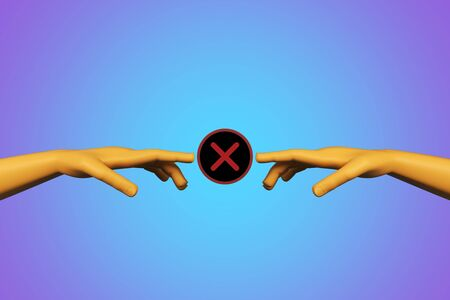 Abstract digital hands with red cross X on blue background. Partnership and denial concept. 3D Rendering 版權商用圖片