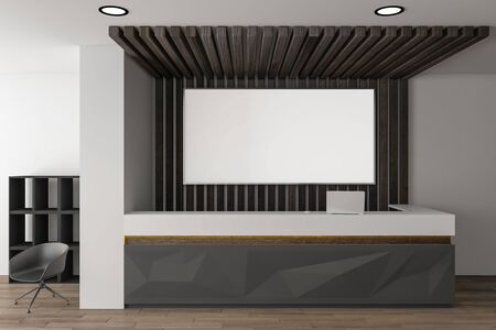 Bright reception desk in lobby interior with empty poster daylight. 3D Rendering