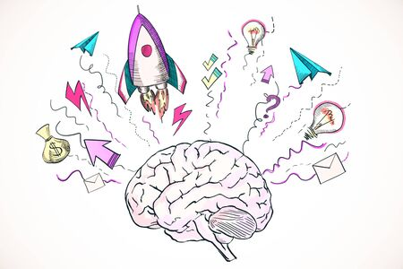 Abstract creative hand drawn business brain and rocket sketch on white background. Startup and brainstorm concept. 3D Rendering Stock Photo