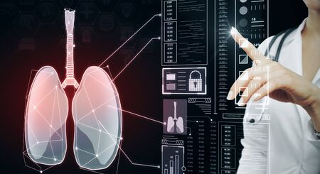 Female doctor with abstract glowing red medical lungs interface background with icons. Medicine and innovation concept. Multiexposure