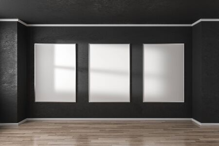 Modern interior with empty white poster on black concrete wall and sunlight. Mock up, 3D Rendering