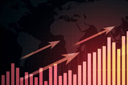 Glowing red business chart with arrows and map. Trade and growth concept. 3D Rendering