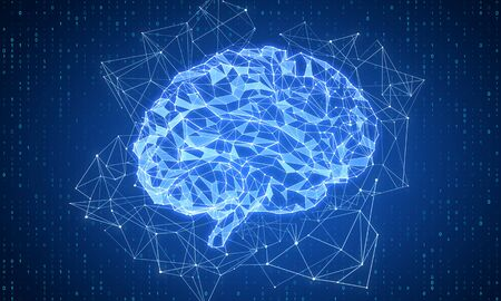 Creative glowing polygonal brain on blue background. AI and future concept. 3D Rendering