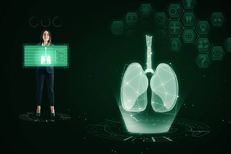 Abstract glowing green medical lungs interface background with icons. Medicine and innovation concept.