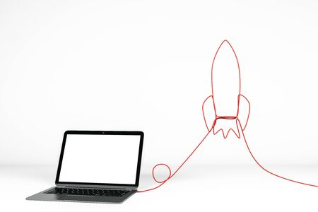 Empty white laptop with abstract rocket shaped cable. Mock up and startup concept. 3D Rendering