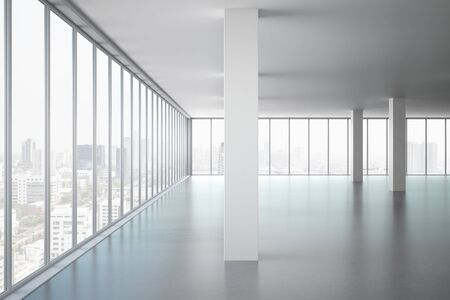 Light office interior with panoramic window, new york city view and daylight. 3D Rendering