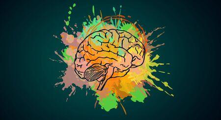 Creative colorful brain splash sketch on dark background. Brainstorm and intelligence concept.  3D Rendering