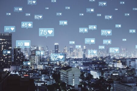 Night Bangkok city backdrop with social media icons. Connection, web and communication concept. Double exposure Stock fotó
