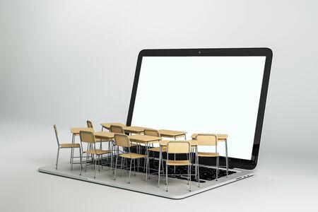 Portátil blanco vacío con escritorios de aula diminutos abstractos sobre fondo gris. Concepto de webinar y educación en línea. Mock up, representación 3D