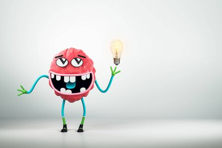 Abstract brain character with light bulb on white background. Brainstorm and idea concept. 3D Rendering 写真素材