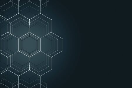 Abstract glowing hexagonal background. Technology and innovation concept. 3D Rendering