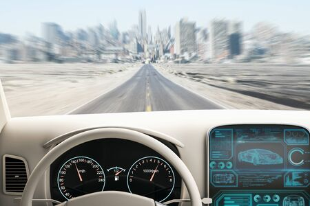 Modern white car interior with futuristic screen and blurry road view. Transport and vehicle concept. 3D Rendering