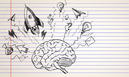 Abstract creative hand drawn business brain and rocket sketch on white background. Startup and success concept, 3D Rendering