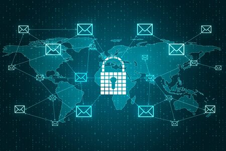 Abstract digital padlock map with emails on blue binary code background. Security and safety concept. 3D Rendering Zdjęcie Seryjne
