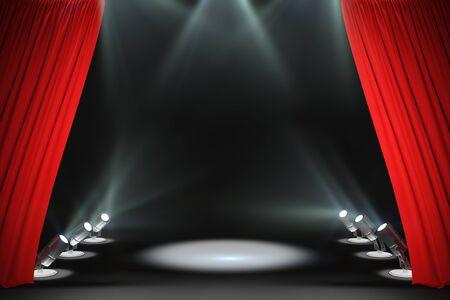 Moderne Bühne mit Scheinwerferlicht und roten Vorhängen. Präsentationskonzept. 3D-Rendering