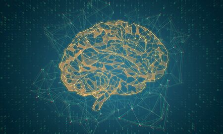Abstract glowing polygonal brain on blue background. AI and future concept. 3D Rendering