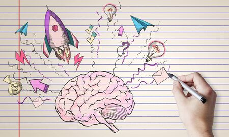 Abstract creative hand drawn business brain and rocket sketch on white background. Startup and idea concept