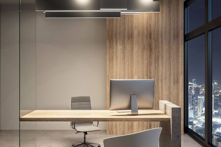 Bright office interior with equipment and night city view. Workplace concept. 3D Rendering