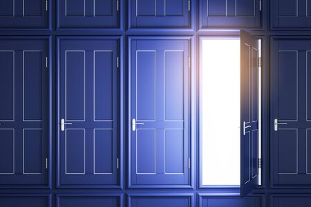Creative blue doors to success with glowing light. Opportunity and access concept. 3D Rendering