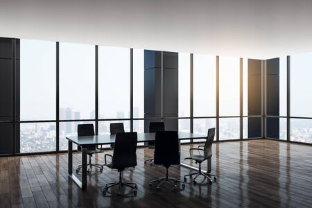 Luxury conference room interior with panoramic city view. Workplace and company concept. 3D Rendering