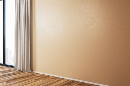 Modern room interior with curtains and empty orange wall. Mock up, 3D Rendering
