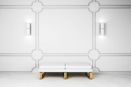 Modern gallery interior with bench and white copyspace on wall. Mock up, 3D Rendering