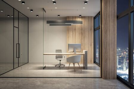 Minimalistic office interior with equipment and night city view. Workplace concept. 3D Rendering