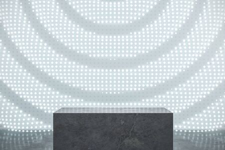 Abstract gallery interior with illuminated white banner and pedestal. Mock up, 3D Rendering