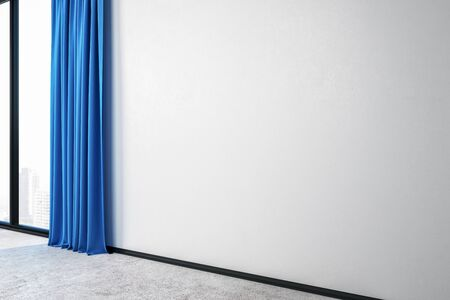Modern room interior with curtains and empty white wall. Mock up, 3D Rendering