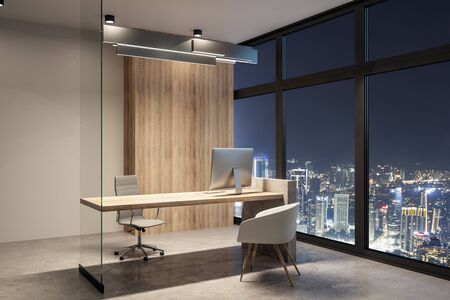 Contemporary office interior with equipment and night city view. Workplace concept. 3D Rendering 스톡 콘텐츠