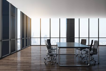 Luxury boarding room interior with panoramic city view. Workplace and company concept. 3D Rendering