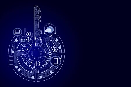 Creative digital blue key interface on dark backdrop with icons. Access, safety and innovation concept. 3D Rendering