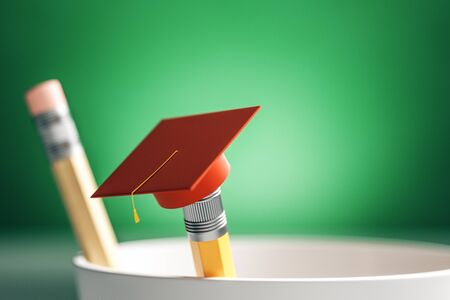 Close up of creative graduation cap on pencil. Blurry green background. Education and back to school concept. 3D Rendering