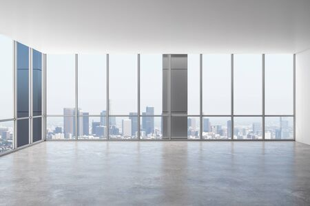 Bright empty office interior with panoramic city view and daylight. 3D Rendering
