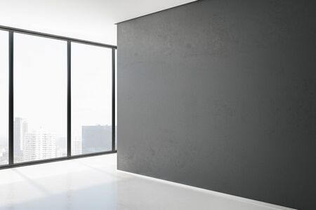 Modern gallery with city view and empty billboard on concrete wall. Museum concept. Mock up, 3D Rendering