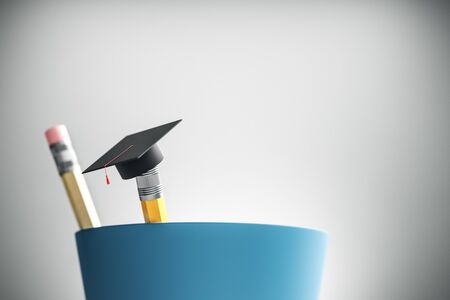 Close up of modern graduation cap on pencil. Blurry white background. Education and back to school concept. 3D Rendering