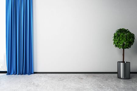 Modern room interior with curtains, decorative plant and empty white wall. Mock up, 3D Rendering Stock Photo