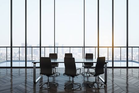 Bright conference room interior with panoramic city view. Workplace and company concept. 3D Rendering