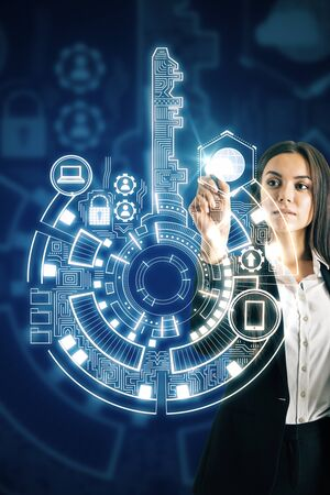 Businesswoman using creative digital key interface on dark background with icons. Access, safety and innovation concept. Multiexposure
