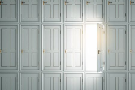 Abstract white doors to success. Opportunity and access concept. 3D Rendering Imagens