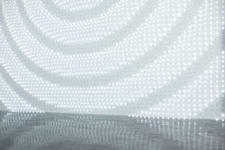 Creative gallery interior with illuminated white canvas. Mock up, 3D Rendering