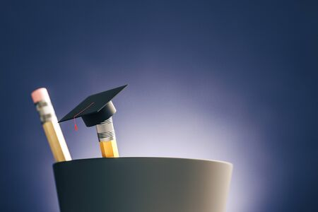 Close up of abstract graduation cap on pencil. Blurry blue background. Education and back to school concept. 3D Rendering