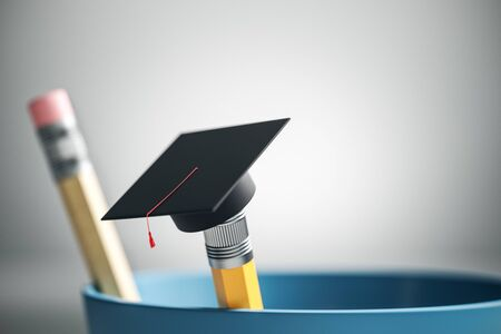 Close up of creative graduation cap on pencil. Blurry white background. Education and back to school concept. 3D Rendering
