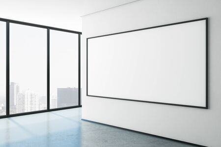 Side view of modern gallery with city view and empty frame on concrete wall. Museum concept. Mock up, 3D Rendering 스톡 콘텐츠