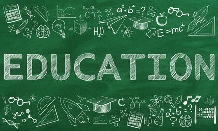 Creative educational sketch on chalkboard wall backdrop with icons. Knowledge and education concept. 3D Rendering