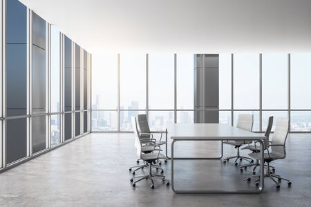 Contemporary meeting room interior with panoramic city view. Workplace and company concept. 3D Rendering
