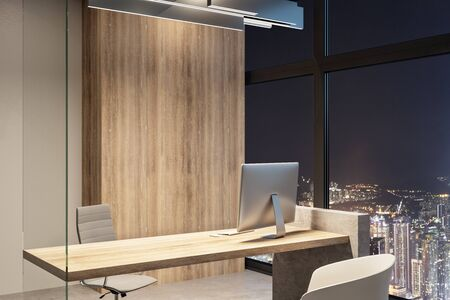Clean office interior with equipment and night city view. Workplace concept. 3D Rendering