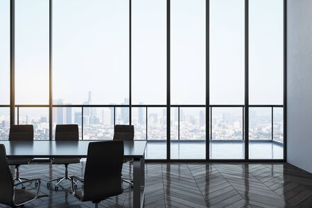 Bright meeting room interior with panoramic city view. Workplace and company concept. 3D Rendering