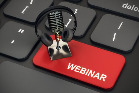Close up of black keyboard with mic and headphones on red webinar button. Online education concept. 3D Rendering