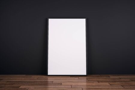 Empty white poster on wooden floor and black wall background. Gallery concept. Mock up, 3D Rendering